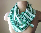 SALE - RECONSTRUCTED infinity oxford scarf in green and white stripes - by EcoShag