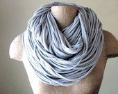 SUPER CHUNKY scarf in heather gray jersey cotton - by EcoShag