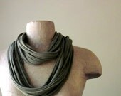 STANDARD cotton jersey scarf necklace olive green - by EcoShag