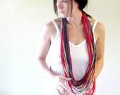 KNOTS cotton jersey scarf necklace in slate blue, red & tan - by EcoShag