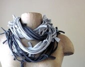 Closeout Sale - Shag Scarf Necklace - Heather and Charcoal Gray Cotton Jersey - Upcycled Eco Friendly Shag Scarf