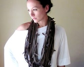 Scarf Necklace - Upcycled Jersey Cotton Scarf - Shades of Brown Statement Fabric Necklace