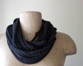 Upcycled Scarf Necklace - Eco Friendly Black Cotton Jersey Fabric Necklace - Upcycled T Shirt T Shirt Scarf