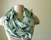 RECONSTRUCTED cotton flannel scarf in green plaid SALE - by EcoShag