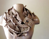RECONSTRUCTED cotton scarf in brown plaid flannel SALE