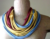 SKINNY scarf necklace in slate blue, maroon, and mustard yellow cotton jersey