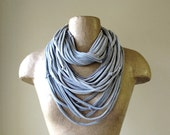 Upcycled Scarf Necklace - Heather Gray Eco Friendly T Shirt Infinity Scarf - Knots