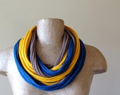 Eco Scarf Necklace - Upcycled Jersey Cotton Fabric Necklace - Blue, Yellow, Brown T Shirt Scarf