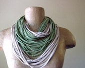 KNOTS cotton scarf in straw and asparagus green jersey - by EcoShag