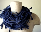 SHAG cotton jersey scarf necklace in navy blue - by EcoShag