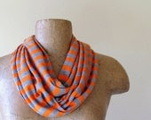 Striped Scarf - Lightweight Striped Skinny Scarf - Orange, Heather Gray Stripes