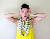 Handmade Infinity Scarf - Lightweight Sweater Scarf - Striped Knit Scarf - Knitted Scarf Gray Yellow Stripes