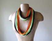 Skinny Scarf Necklace - Upcycled Cotton Jersey - Eco Friendly Summer Scarf - Brown, Lime Green, Orange