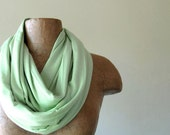 Mint Green Infinity Scarf - Cotton Jersey Loop Scarf - Medium Weight Infinity Cowl - Handmade Scarf
