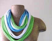Spring Scarf Necklace - Light Blue, Lime Green, White Upcycled Cotton Jersey - Eco friendly Tshirt Scarf