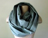 Linen Scarf - Infinity Circle Scarf - Eco Friendly Olive Drab Linen