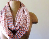 Coral Infinity Scarf - Coral Peach Flowers and Stripes - Handmade Cotton Jersey Circle Scarf - Womens Scarves