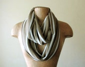 Lightweight Striped Infinity Scarf - Handmade Infinity Loop Scarf - Fallow Brown and White Stripes