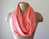 Knit Infinity Scarf - Coral Peach Sweater Scarf - Lightweight Handmade Coral Infinity Scarf