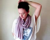 Striped Shawl - Coral Peach, Heather Gray Stripes Scarf - Striped Cotton Jersey Wrap - Fall Fashion Accessory
