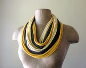 Infinity Scarf Necklace - Upcycled Jersey Cotton Fabric Necklace - Mustard Yellow, Gray, Pale Yellow T Shirt Scarf