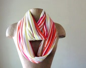 Closeout Sale - Infinity Scarf - Striped Lightweight Infinity Circle Scarf - Colorful Stripes - Fuchsia Orange Yellow Jersey