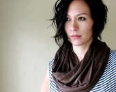 Brown Infinity Scarf - Chunky Infinity Loop Scarf - Brown Cotton Jersey Slub - EcoShag Handmade Scarves