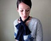 Navy Blue Bow Tie - All In One Neck Bow, Ascot - Sash - Cotton Head Scarf, Hair Wrap, Headband, Turban - Fall Accessory