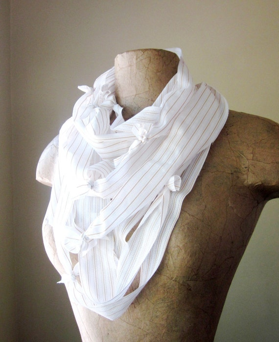 RECONSTRUCTED vintage oxford scarf in business white SALE - by EcoShag