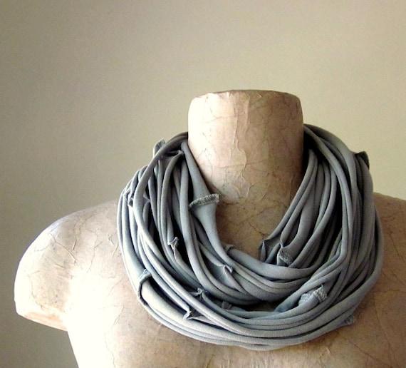 SEAMS cotton scarf necklace in sage green jersey - by EcoShag