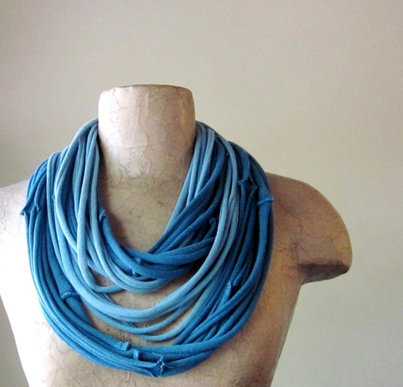 SEAMS cotton scarf necklace in shades of slate blue jersey - by EcoShag