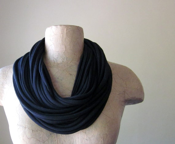 Eco Friendly Scarf Necklace - Black Upcycled Cotton Jersey T shirt Scarf Necklace