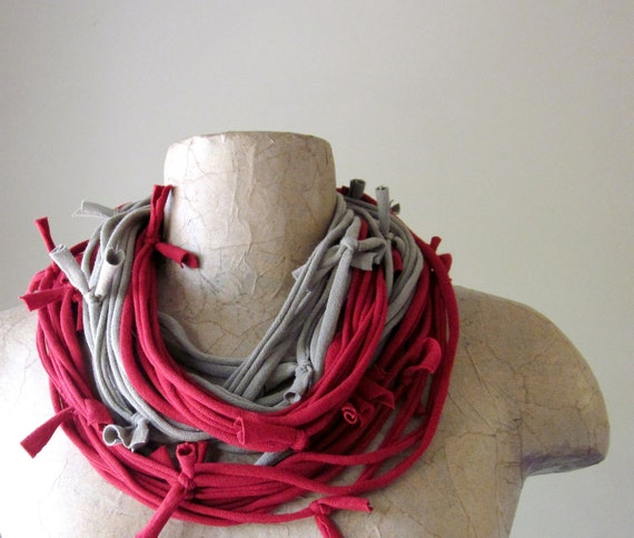 Shag Scarf Necklace - Eco Friendly Cotton Jersey Scarf - Dark Red and Taupe
