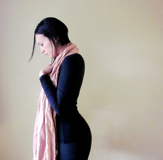 Extra Long Linen Scarf - Womens Linen Shawl - Tea Rose Pink Scarf