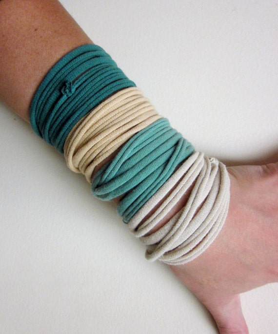 STRANDS fabric bracelets in sea green, buttercream, tan and muted teal cotton jersey - by EcoShag