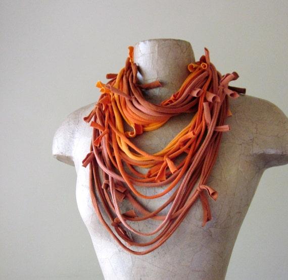SHAG cotton scarf necklace in shades of orange jersey - by EcoShag
