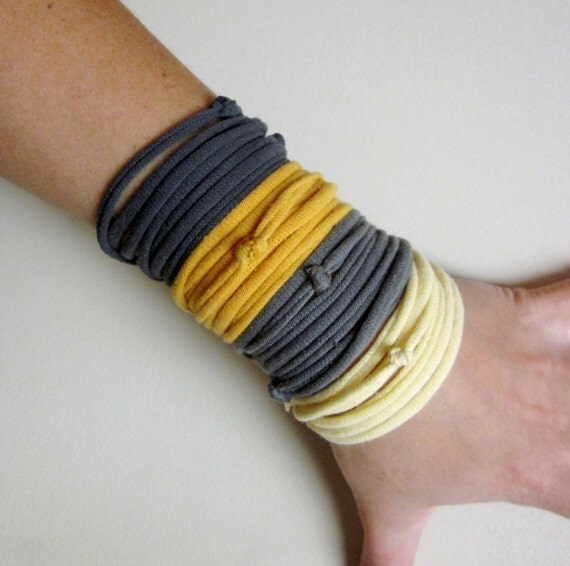 FABRIC BRACELETS in mustard yellow, gray and pale yellow upcycled cotton jersey - by Ecoshag