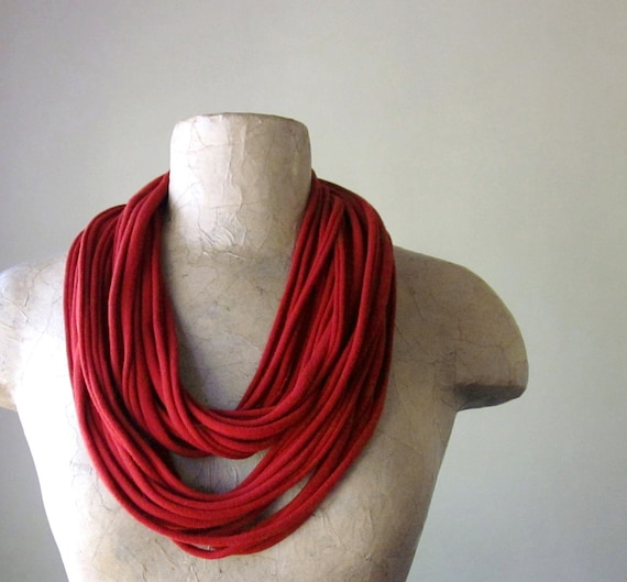 STANDARD cotton scarf necklace in scarlet red jersey - by EcoShag