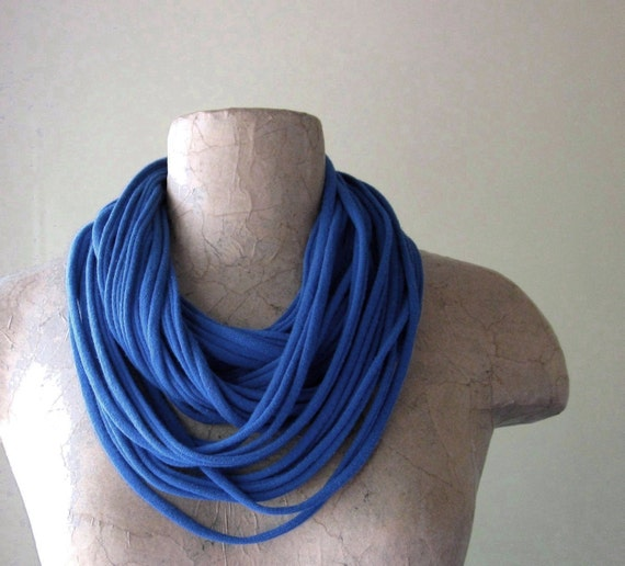 Closeout Sale - Long Blue Scarf Necklace - Upcycled Eco Friendly Jersey Cotton Scarf in Primary Blue