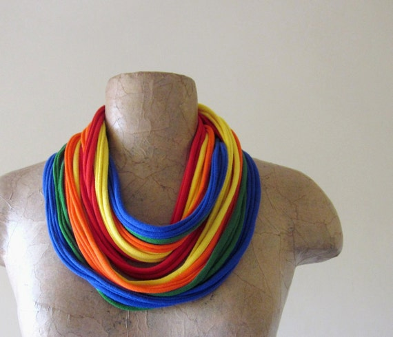 Box of Crayons Skinny Scarf Necklace - Colorful Rainbow Cotton Jersey Infinity Scarf - Upcycled, Eco Friendly Fashion