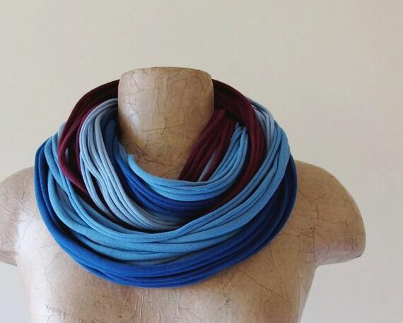 Chunky Scarf Necklace - Upcycled Eco Friendly Cotton Jersey - Blue Burgundy