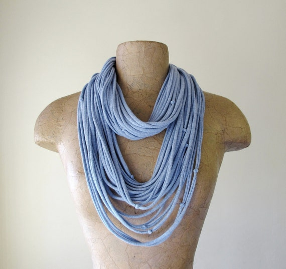 Knotted Scarf Necklace - Pale Heather Blue - Upcycled Jersey Cotton Fabric Necklace