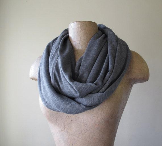 CIRCULAR INFINITY scarf in gray cotton jersey slub knit - by EcoShag