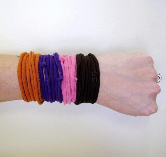Fabric Bracelets - Upcycled Jersey Cotton Fabric - Burnt Orange, Pink, Purple, Brown