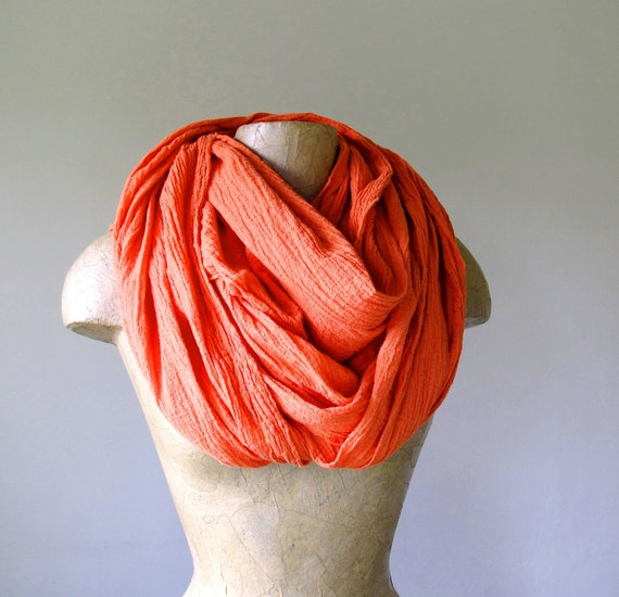 Gauze Scarf - Tangerine Extra Long Cotton Gauze Lightweight Wrinkle Scarf - Long Crinkle Scarves