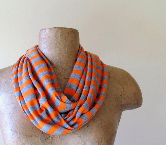 Striped Scarf - Lightweight Striped Skinny Scarf - Orange, Heather Gray Stripes