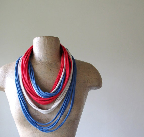 Skinny Jersey Cotton Scarf Necklace - Eco Friendly Scarf - Eco Fashion - Red, Blue, Tan