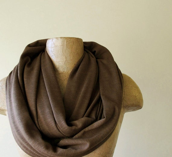 Chunky Infinity Scarf - Thick Loop Knit Infinity Scarf - Chocolate Brown Cotton Jersey Slub