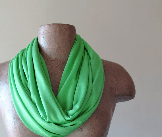 Spring Green Infinity Scarf - Lightweight Cotton Jersey Infinity Loop Scarf - Handmade Green Circle Scarf