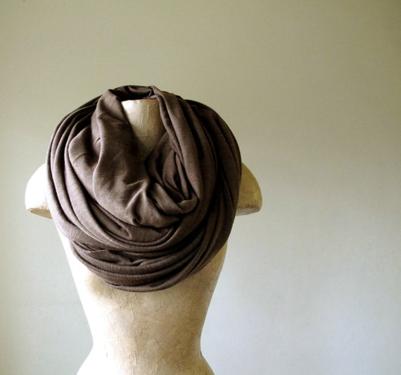 Extra Long Brown Scarf - Medium Weight Cotton Jersey Slub Fabric - Chocolate Brown